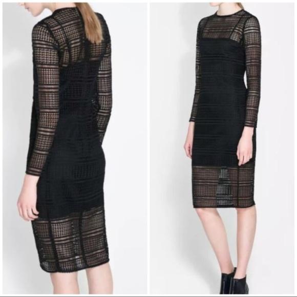 3d2ea82f797f Zara Dresses | Nwt Lattice Crochet Bodycon Midi Dress S | Poshmark